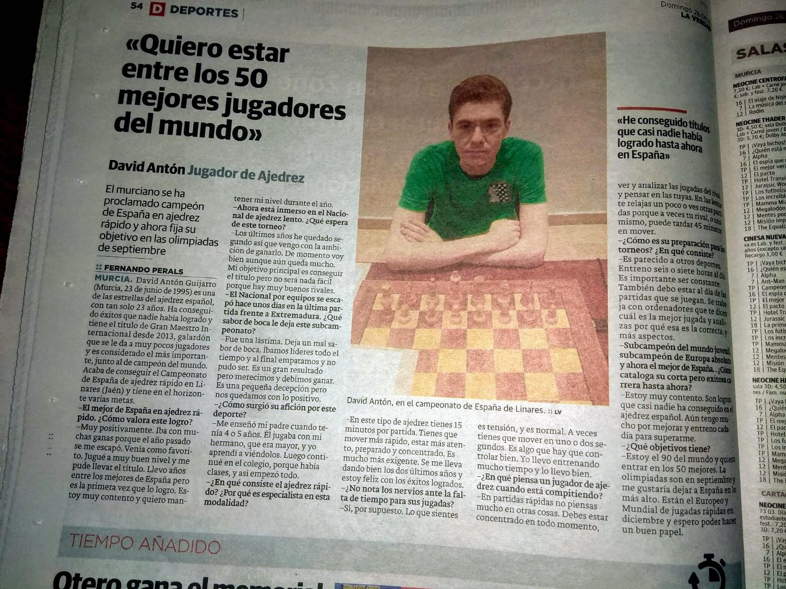 Entrevista a David Antón, campeón de España, en La Verdad